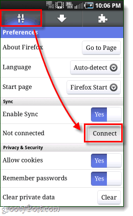 connect firefox android app to sync