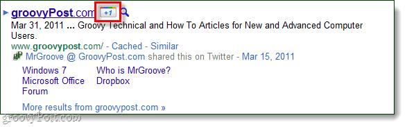 google +1 link next to site