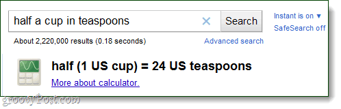 Google calculator converts teaspoons
