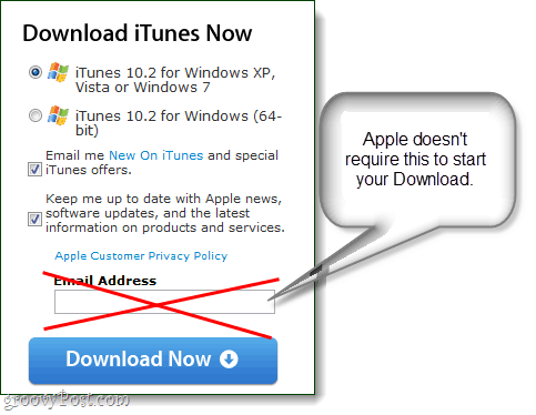 Download iTunes update email