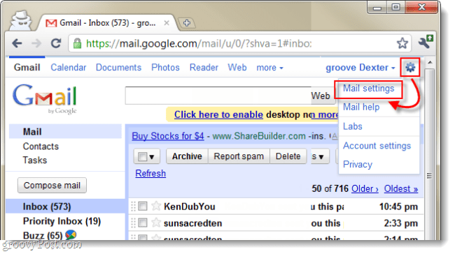 open gmail mail settings