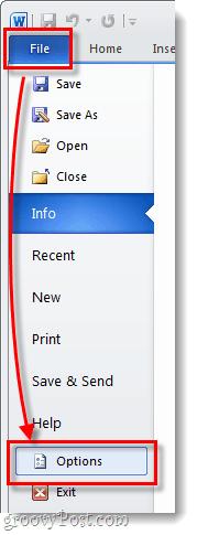 microsoft office 2010 file options