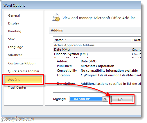 office options menu add-ins and go button