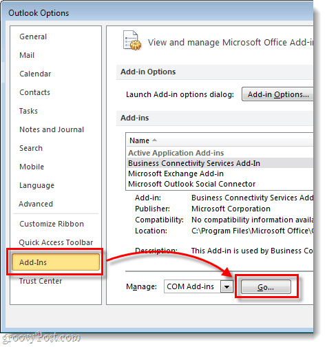 Outlook Add-ins > Go
