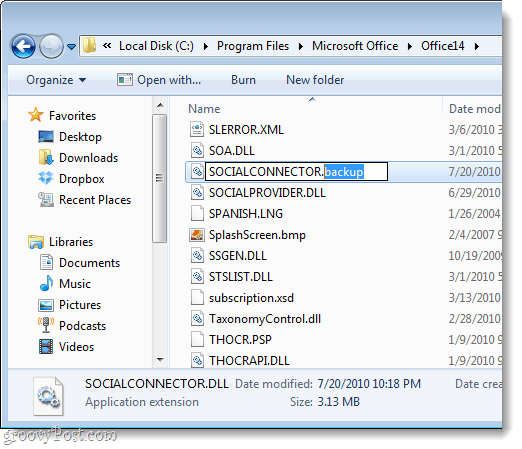 delete or rename the social connector .dll for outlook 2010