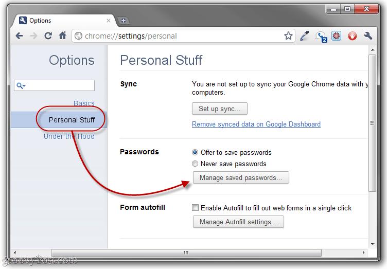 manage saved chrome passwords