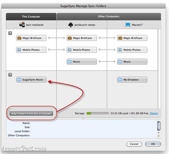 Syncing an iTunes folder to SugarSync