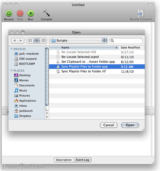 AppleScript Editor - SugarSync and iTunes