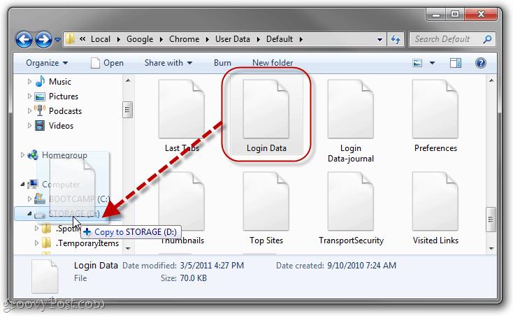 backup chrome saved passwords