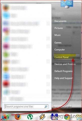 Windows 7 start menu control panel
