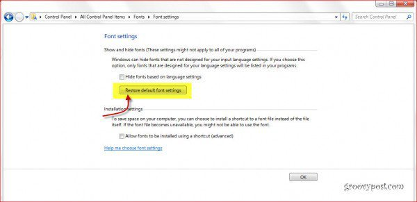 Restore windows 7 fonts to default settings