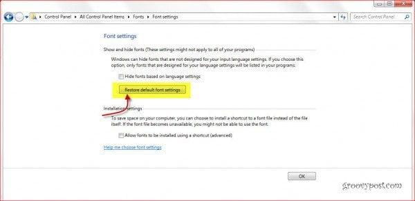 Restore windows 7 fonts to default settings