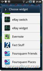 Evernote Widget Menu