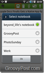Evernote in Pulse 4 select Notebook
