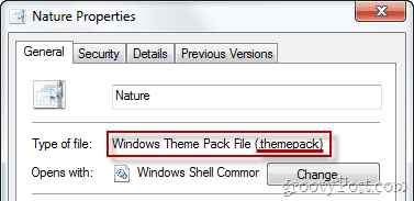 Windows Theme Pack File Properties