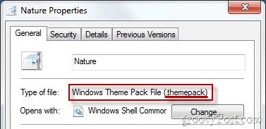 Windows Theme Pack File Properties