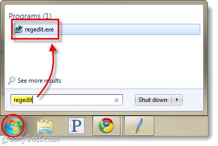 launch registry editor windows 7