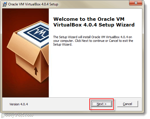 virtual box setup wizard