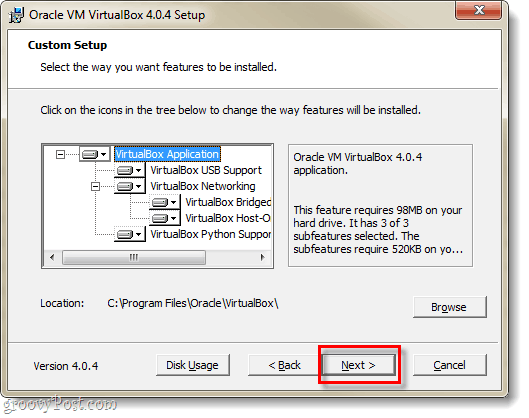 virtualbox installation options