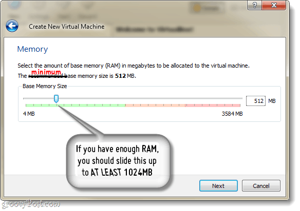 virtualbox memory size allocation