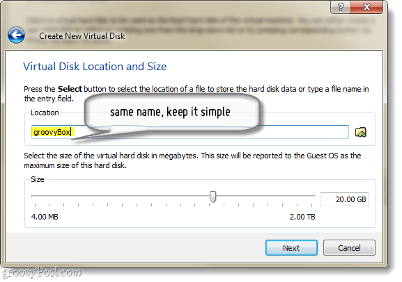 hard disk size allocation