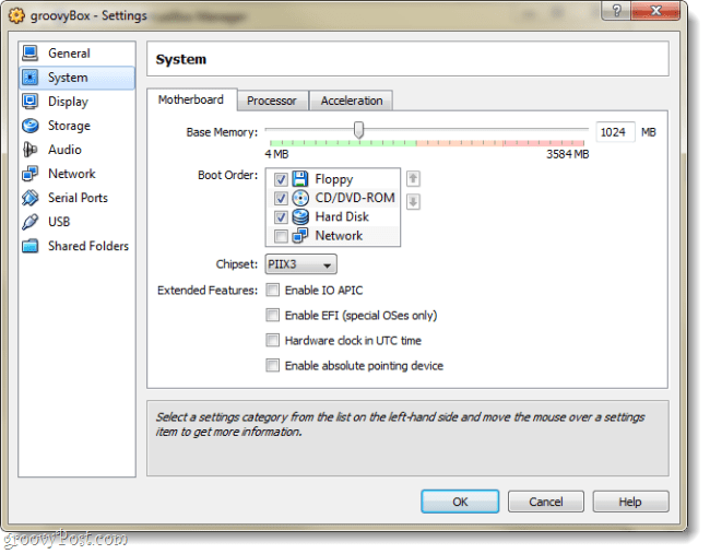 customize virtualbox vm settings