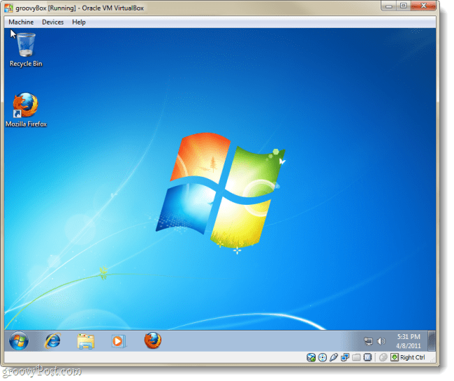 virtualbox running