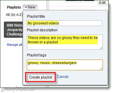 new playlists, enter details