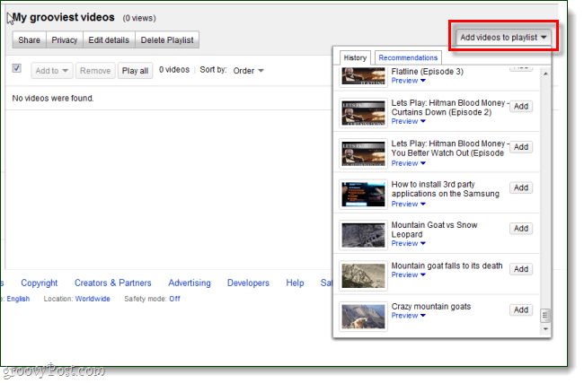 add video history to playlists