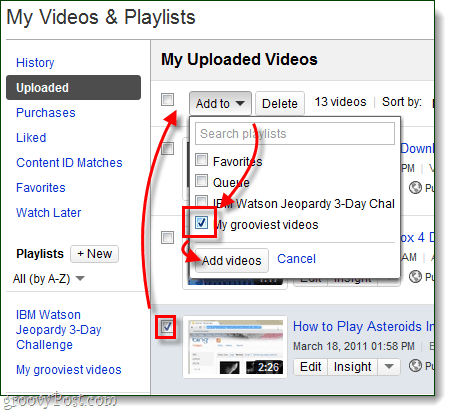 add uploaded videos to your playlist
