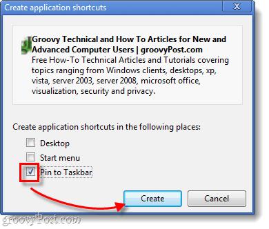pin to taskbar in chrome
