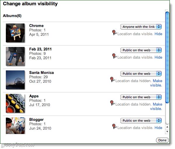 bulk edit album visibility