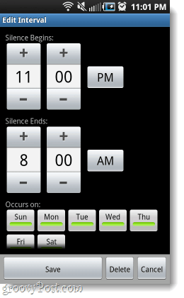 set android phone to silence while you sleep