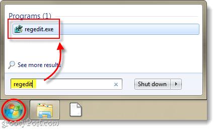 launch registry editor in windows 7 or vista