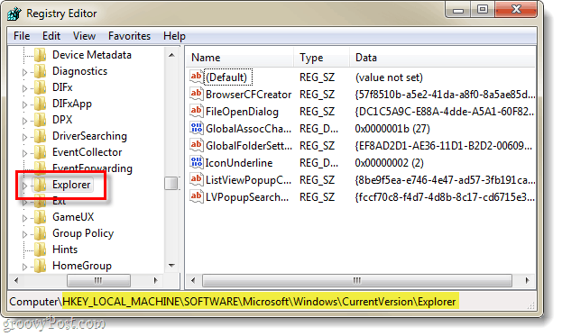 find the registy key pertaining to the current version of explorer in the windows 7 registry