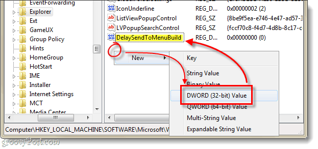 Delay the send to menu dword creation in windows 7