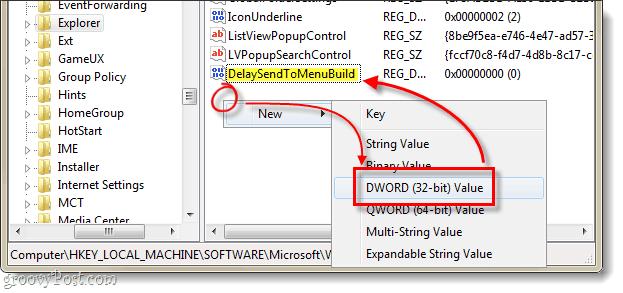 Delay the send to menu dword creation in windows 7