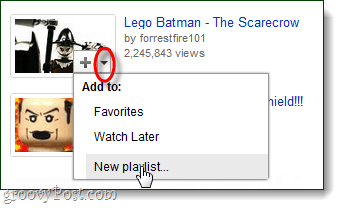 add a new playlist from the video icon
