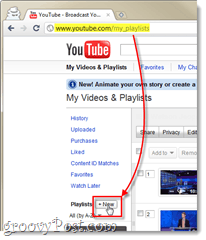 create a new play list on youtube from video and playlists page