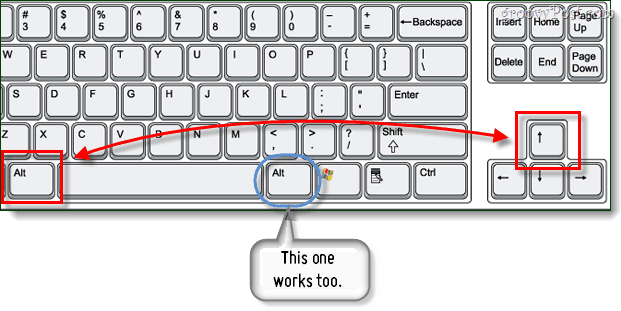 up button keyboard shortcut