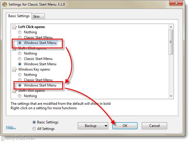 classic shell, windows start menu settings