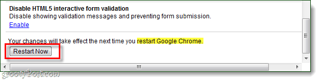 restart chrome to save changes