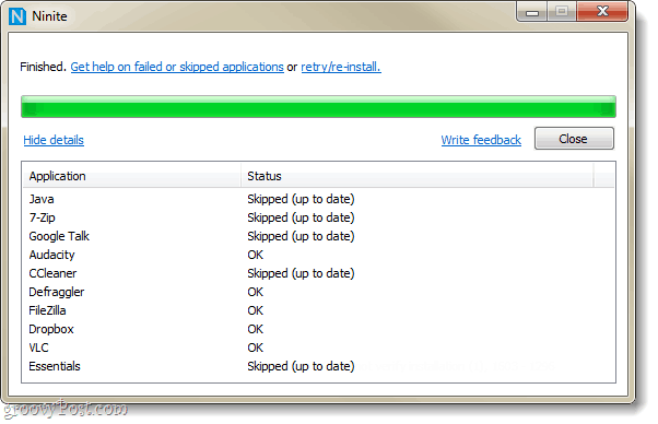 skipped or installed updates and programs