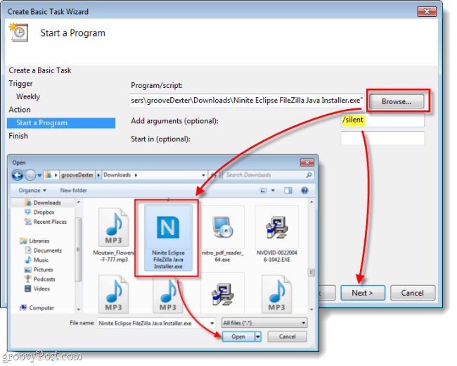 select ninite as the application to run and add the silent argument