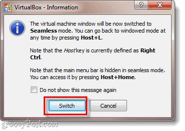 virtualbox info window