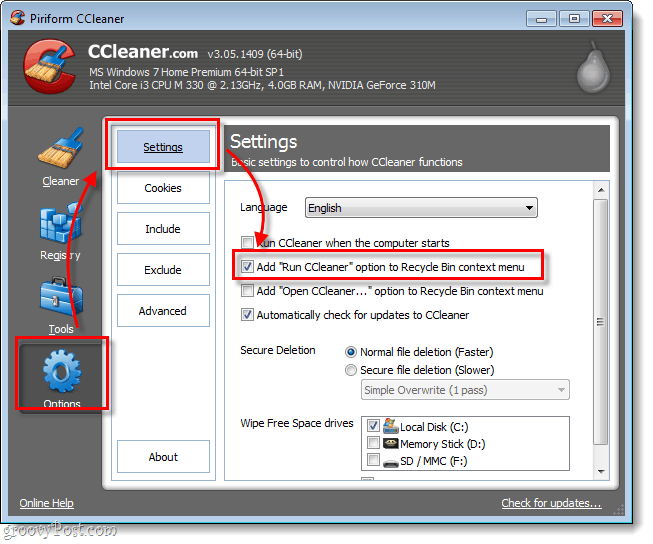 CCleaner run cleaner option recycle bin