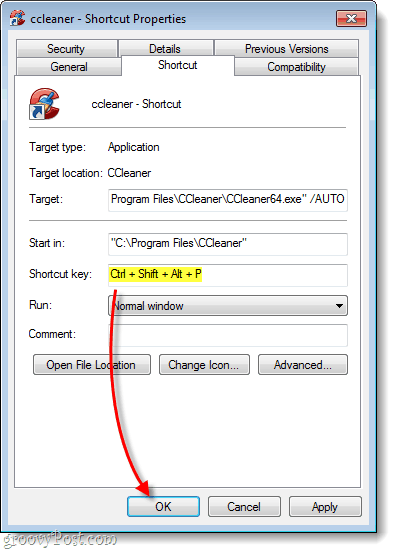 CCleaner Shortcut Key