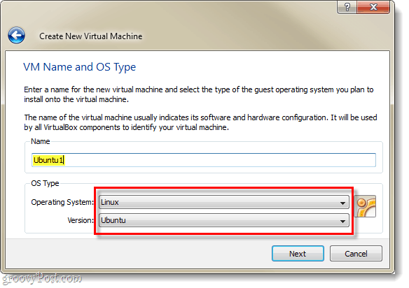 name new VM virtualbox and select linux ubuntu