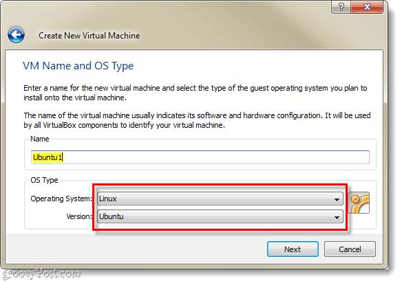 name new VM virtualbox and select linux ubuntu