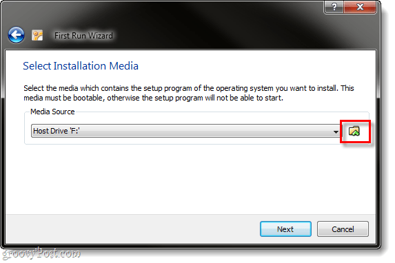 select installation media virtualbox ubuntu